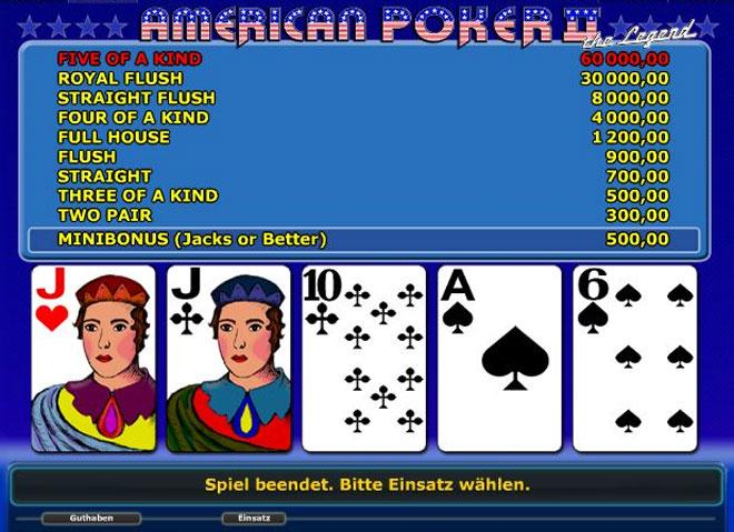 American Poker II Novoline Spiel